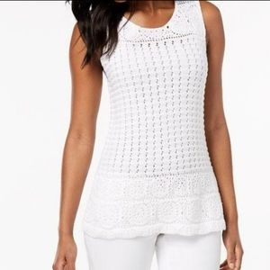 Style&Co Petite Crochet Knit Sweater Tank Top
